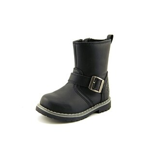 Crevo Tanner Toddler Round Toe Synthetic Black Ankle Boot