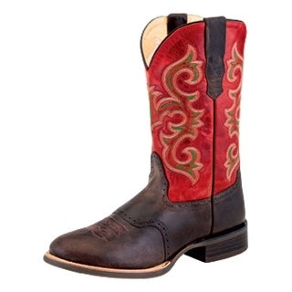 Old West Cowboy Boots Mens Pull Straps Leather Lined Coffee Brown 5704