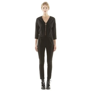 Eleven Paris Faurel Jumpsuit Black Long Sleeve with Goldtone Zipper 36