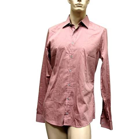 Gucci Men's Pale Red Cotton Silk Slim Dress Shirt 269067 6662 42 / 16.5 - 42 / 16.5