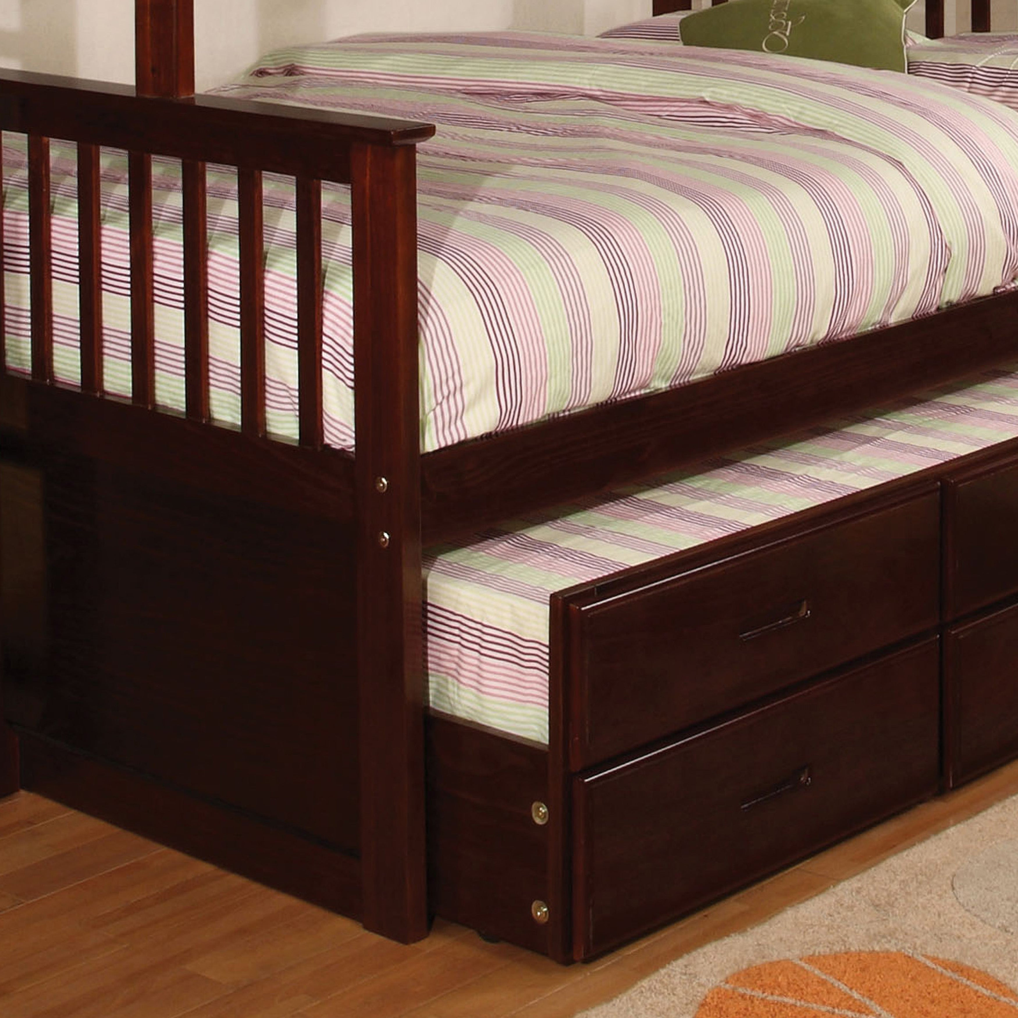 Picture of: Furniture Of America Rola Mission Twin Xl Queen Bunk Bed With Trundle Overstock 10302777