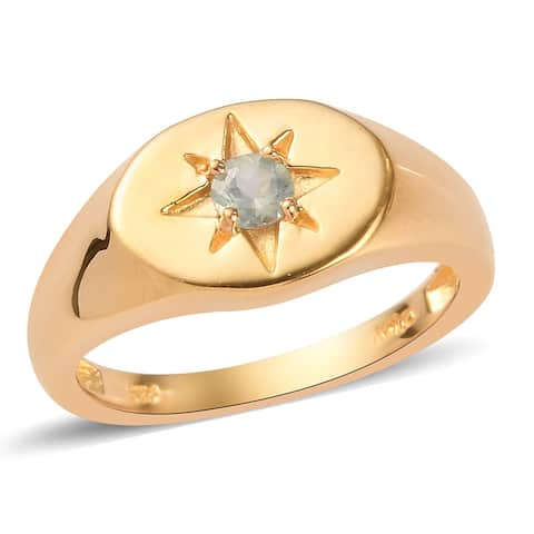 Vermeil Yellow Gold Over Sterling Silver Alexandrite Ring Mens