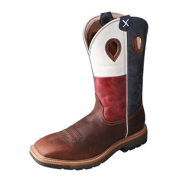 Twisted X Work Boots Mens Lite Steel Toe Texas Flag Brown