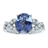 4 ct Created Ceylon & White Sapphire Ring in Sterling Silver