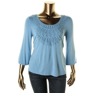 Cable & Gauge Womens Jersey Crochet Front Pullover Top - M