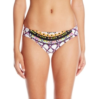 Trina Turk NEW White Purple Women's Size 4 Bikini Bottom Printed Swimwear
