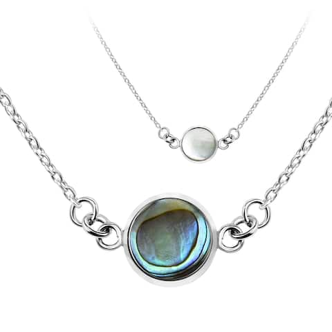 Handmade Modish Two Sided Round Shell Sterling Silver Necklace (Thailand)