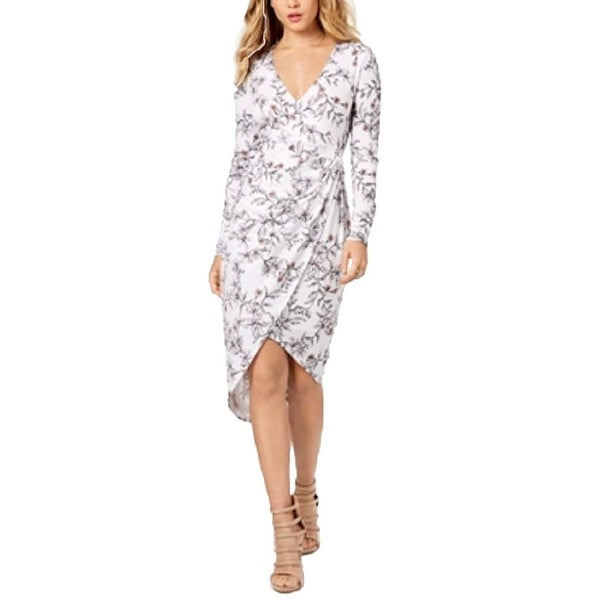 6854d86fc8f0 Shop Guess White Women s Size Medium M Kellie Floral-Print Wrap Dress - On  Sale - Free Shipping Today - Overstock - 26956538