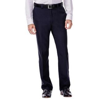 Haggar Repreve Stria Classic Fit Flat Front Dress Pants Navy Blue 40W x 32L - 40
