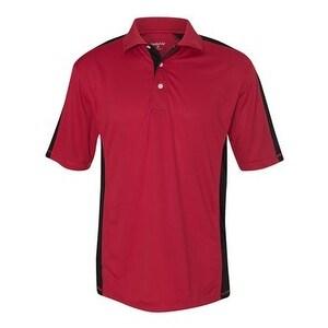 FeatherLite Colorblocked Moisture Free Mesh Sport Shirt - Red/ Black - S