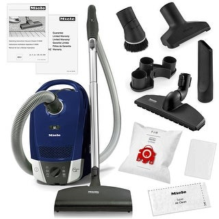 Miele Compact C2 Topaz Canister Vacuum Cleaner + SEB 217-3 Powerhead + SBB 300 Parquet Floor Brush + More