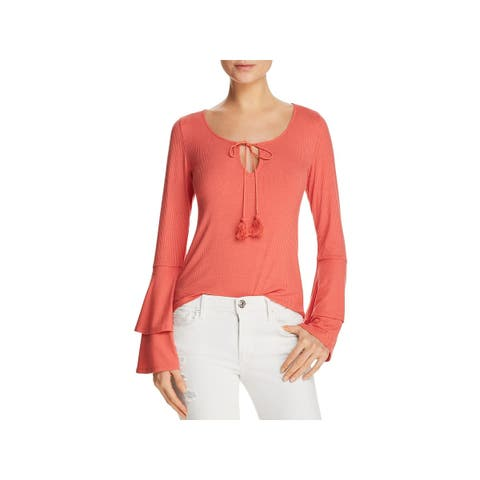 Band of Gypsies Womens Blouse Ribbed Bell Sleeves