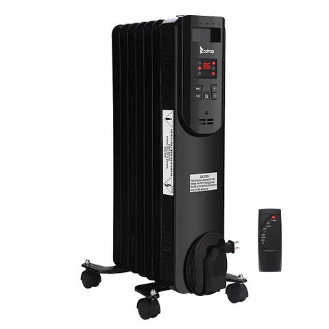 1500W Oil-Filled Radiator Heater, Oil Heater with Display, Temperature Adjustment, Remote Control for Home, Office