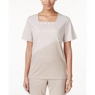 Alfred Dunner Women's Asymmetrical Stripe Knit Top Fawn - PL