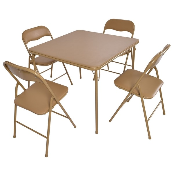 Costway 5 Pcs Folding Table Chair Set Guest Games Dining Room Kitchen Multi-Purpose