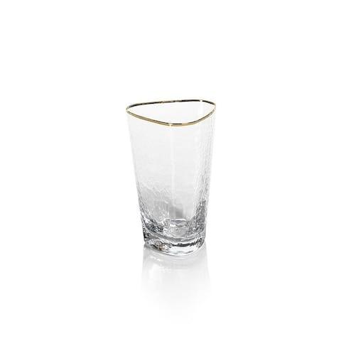 Kampari Triangular Highball Glasses with Gold Rim, Set of 4