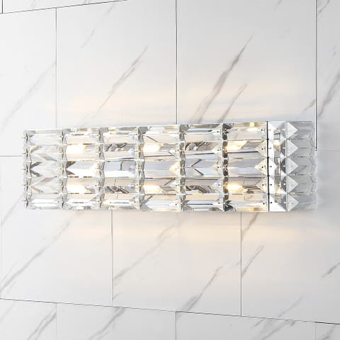 Evelyn Crystal Crystal Glam LED Vanity Light Chrome by JONATHAN Y