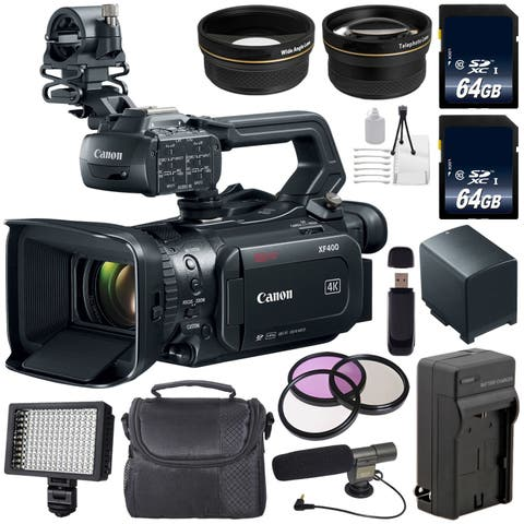 Canon XF400 Camcorder 2213C002 + 64GB SDXC Class 10 Memory Card + External Rapid Charger + 58mm 3 Piece Filter Kit Bundle