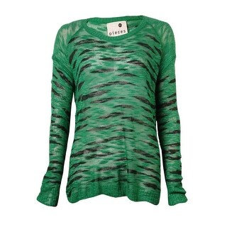 Kensie Women's Long-sleeve Round-neck Animal-print Sweater - green combo (2 options available)