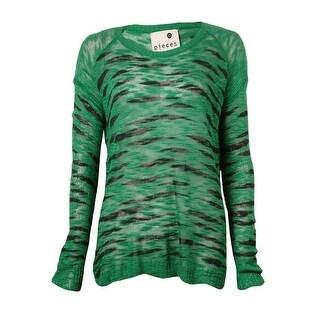 Kensie Women's Long-sleeve Round-neck Animal-print Sweater