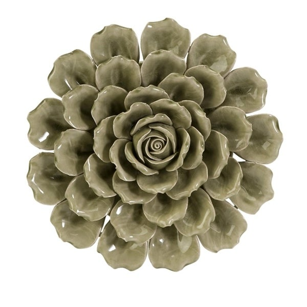 13 Decorative Hand Made 3 Dimensional Olive Green Ceramic Flower Wall Decor