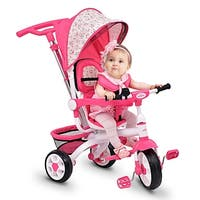 Gymax Pink Baby Stroller Tricycle Detachable Learning Toy Bike