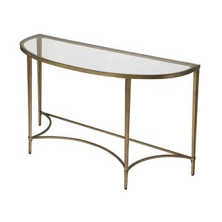 Link to Monica Modern Distressed Metal Demilune Console Table - Antique Gold Similar Items in Living Room Furniture