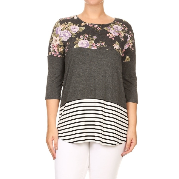 da3e556a7018a Shop BNY Corner Women Plus Size Print Solid Striped Block T-Shirt ...