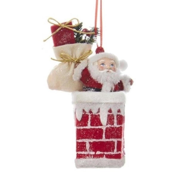 "5.25"" Santa In The Chimney Decorative Christmas Ornament - RED"