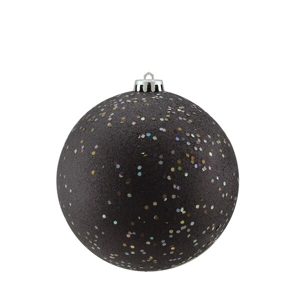 "Shatterproof Jet Black Holographic Glitter Christmas Ball Ornament 6"" (150mm)"