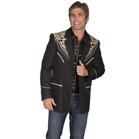 Scully Western Blazer Mens Button Front Embroidered Floral