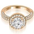 1.60 cttw. 14K Rose Gold Halo Round Cut Diamond Engagement Ring - Thumbnail 0