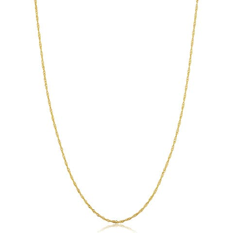 14k Yellow Gold Filled 1 millimeter Singapore Chain Pendant Necklace For Women (14 - 30 inches)