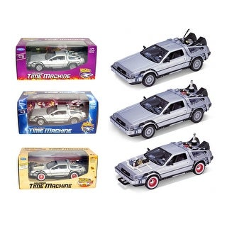 Collect All 3pc Set Delorean Time Machine Trilogy Set Back To The Future 1,2,3 1/24 by Welly