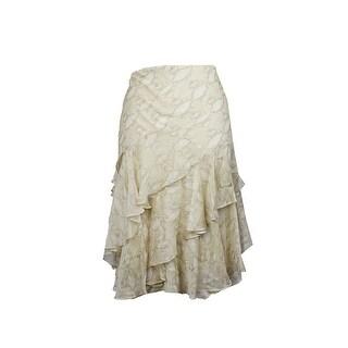 Lauren Ralph Lauren Plus Size Beige Python-Print Ruffled Skirt W