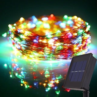 72ft LED Starry Sting Lights,200 Multicolor RGBY Solar Powered Flexible Copper Wire Christmas Lights, 8 Modes