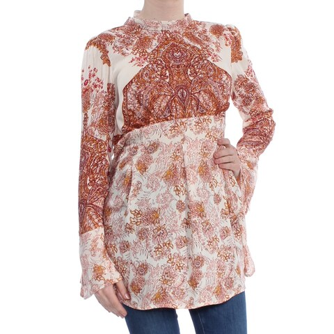 FREE PEOPLE Womens Ivory Printed Long Sleeve Tunic Top Size: M