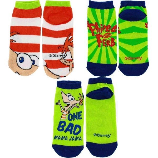 Phineas and Ferb Toddler Lime Green Socks 3-Pair Set, (2-4 years)