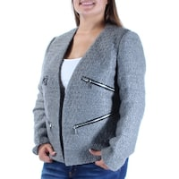 MICHAEL KORS Womens Gray Zippered Textured Suit Wear To Work Jacket  Size: 10