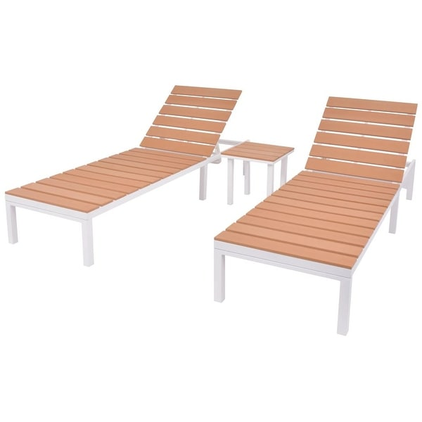 "vidaXL Sun Loungers 2 pcs with Table Aluminium and WPC White and Brown - 24.8"" x 78"" x (13""-36.2"")"