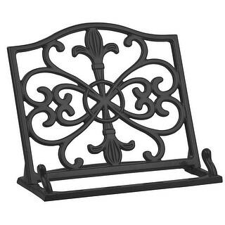 Home Basics Cast Iron Fleur De Lis Cookbook Stand, 10.5x5.5x9 Inches, Black