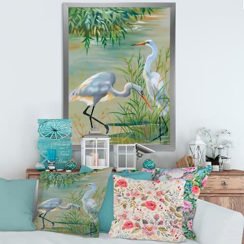 Designart 'Heron Birds I' Traditional Framed Art Print