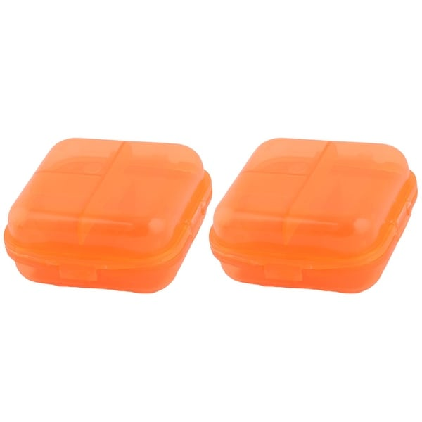 Hiking Plastic 6 Compartments Medicine Pill Holder Storage Box Case Orange 2 Pcs
