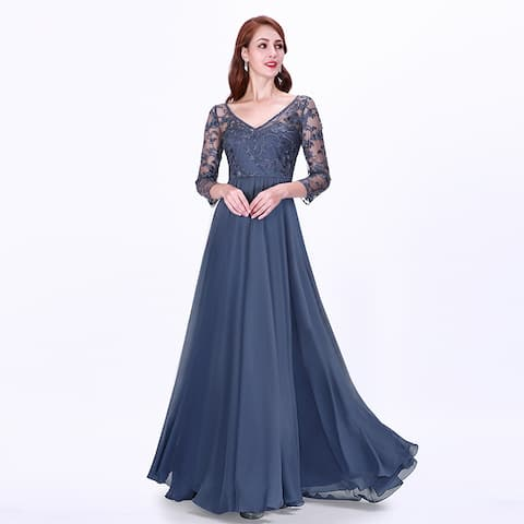 0d04190db4 Ever-Pretty Women's Lace Long Sleeve Evening Wedding Party Maxi Dress 07633