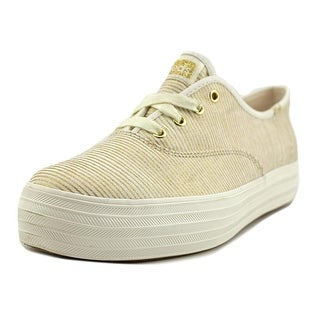 Keds Triple Women Round Toe Canvas Gold Sneakers