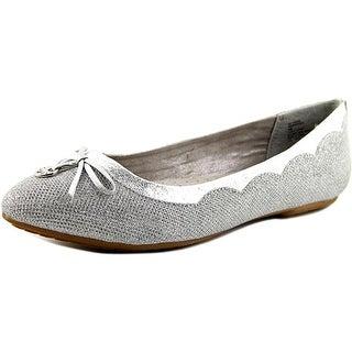 White Mountain Cece Women Round Toe Synthetic Silver Ballet Flats