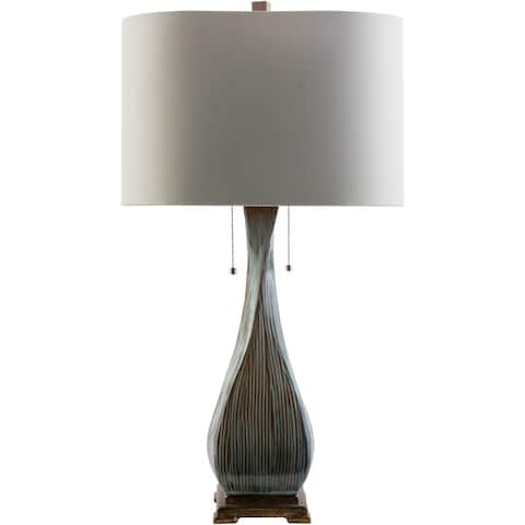 Rustic Ethan Table Lamp with Glazed Ceramic Base