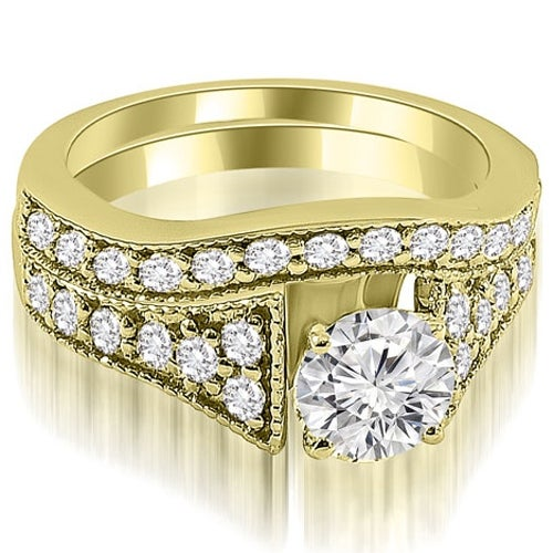 1.75 cttw. 14K Yellow Gold Vintage Cathedral Round Cut Diamond Bridal Set