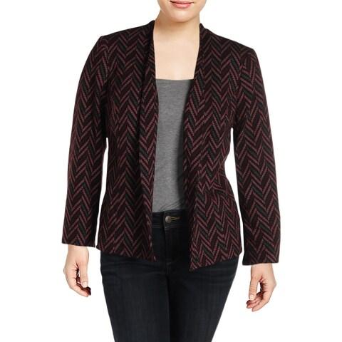 Kasper Womens Plus Open-Front Blazer Printed Office Wear