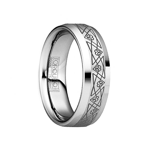 HORATIUS Beveled Tungsten Wedding Band with Brushed Engraved Triangular Pattern by Crown Ring